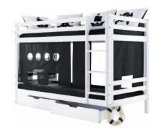 Hoppekids Etagenbett Pirat, inkl. Vorhang, 2 Matratzen und Rollroste schwarz-weiß Einzelbetten Betten