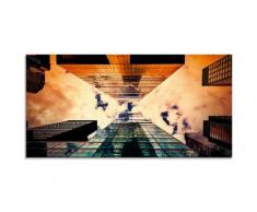 Artland Glasbild New York Hochhaus, Gebäude, (1 St.) orange Glasbilder Bilder Bilderrahmen Wohnaccessoires