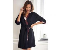 s.Oliver Kimono, mit Blumen-Dessin schwarz Damen Kimono Nachtwäsche Wäsche