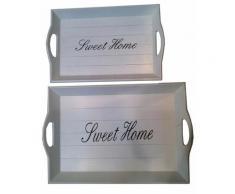 Home affaire Tablett Sweet Home, MDF weiß Dekoschalen Dekotabletts Deko Wohnaccessoires Tabletts