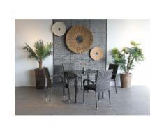 Ploß Gartenstuhl BRADFORD, 4er Set, Stahl, stapelbar, graphit grau Gartenstühle Gartenmöbel Gartendeko