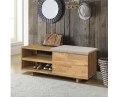 andas Schuhbank Rainy, aus schönem massivem Eichenholz, mit einer pflegeleichten gepolsterten Sitzfläche, Breite 66 cm beige Schuhbänke Schuhschränke Garderoben