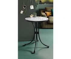 INOSIGN Beistelltisch Steph, mit schöner, weißer Mosaik-Keramikplatte und Metallgestell schwarz Beistelltische Tische