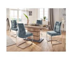 Homexperts Essgruppe Bonnie Breite 140 cm mit Auszug und 4 Stühlen, wildeichefarben/blau
