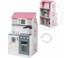 roba Spielküche 2-in-1, rosa, Holz weiß Kinder Ab 18 Monaten Altersempfehlung Spielküchen