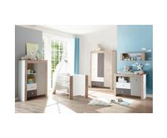 Babyzimmer-Komplettset Madrid, (Set, 3 St.), Bett + Wickelkommode trg. Kleiderschrank grau Baby Baby-Möbel-Sets Babymöbel