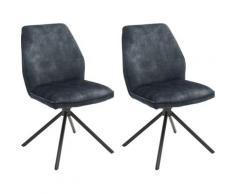 MCA furniture Esszimmerstuhl Ottawa, Vintage Veloursoptik mit Keder, Stuhl belastbar bis 120 Kg blau Esszimmerstühle Stühle Sitzbänke