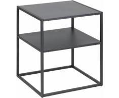 andas Nachttisch Vilho, aus einem schönen weißen Metallgestell und einer Ablegemöglichkeit schwarz Nachtschränke Nachttische Tische