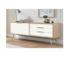 PBJ Designhouse Sideboard stick Breite 200 cm mit Chromabsetzungen an den Beinen, weiß, white oak/Laminat weiß