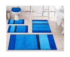 Badematte Room, Grund, Höhe 24 mm, rutschhemmend beschichtet blau Gemusterte Badematten