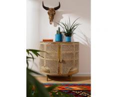 Home affaire Sideboard Malcolm, aus Rattan-Geflecht und massivem Mangoholz, handgefertigt, mit abgerundeten Kanten, Breite 81 cm braun Sideboards Kommoden