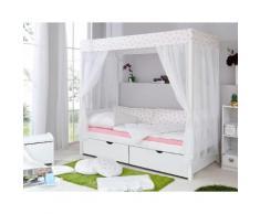 Ticaa Himmelbett Lino weiß Kinder Kinderbetten Kindermöbel