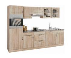 wiho Küchen Küchenzeile Linz, mit E-Geräten, Breite 280 cm EEK C braun Küchenzeilen Geräten -blöcke Küchenmöbel Arbeitsmöbel-Sets