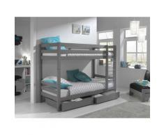 Vipack Etagenbett Pino, wahlweise mit Bettschublade grau Kinder Kindermöbel Möbel sofort lieferbar