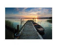 Wall-Art Vliestapete Sunset at the lake bunt Vliestapeten Tapeten Bauen Renovieren