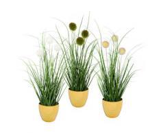 Leonique Kunstgras Grasbusch mit Kletten (Set, 3 Stück) grün Kunstgräser Kunstpflanzen Wohnaccessoires