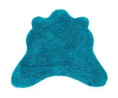 Paco Home Fellteppich Zotty 450, fellförmig, 50 mm Höhe, Kunstfell, einfarbig, Wohnzimmer blau Wohnzimmerteppiche Teppiche nach Räumen