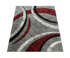 Paco Home Teppich Brillance 758, rechteckig, 18 mm Höhe, Kurzflor mit geometrischem Design, Wohnzimmer rot Esszimmerteppiche Teppiche nach Räumen