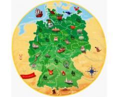 Kinderteppich, DeutschlandKarte DE-1, Böing Carpet, rund, Höhe 2 mm, gedruckt grün Kinder Bunte Kinderteppiche Teppiche