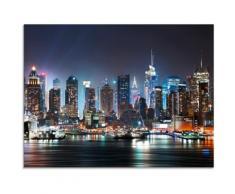 Artland Glasbild New York City Times Square, Amerika, (1 St.) blau Glasbilder Bilder Bilderrahmen Wohnaccessoires