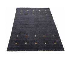 Wollteppich, Gabbeh Uni, carpetfine, rechteckig, Höhe 15 mm, handgewebt schwarz Gewebte Teppiche Orientteppich