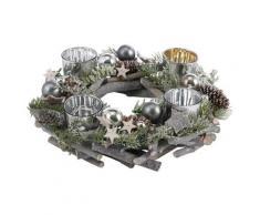 Home affaire Adventskranz, aus Echtholz für 4 Teelichter, Ø 30 cm grau Adventskranz Kunstkränze Kunstpflanzen Wohnaccessoires