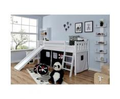 Ticaa Hochbett Ekki, mit Rollrost und Textil-Set wahlweise Matratze, Buche weiß Kinder Kinderbetten Kindermöbel
