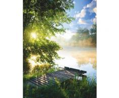 Home affaire Glasbild Angelsteg am Fluss Morgen grün Glasbilder Bilder Bilderrahmen Wohnaccessoires