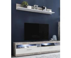 Lowboard MOVE Breite 160 cm inklusive gratis Wandregal Breite 135 cm, Beton-Optik / Weiß