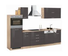 Küchenzeile Graz, grau, grau Hochglanz