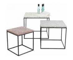KARE Design Beistelltisch Terrazzo (3er-Set), bunt, bunt