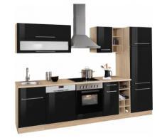 HELD MÖBEL Küchenzeile Eton, schwarz, schwarz Hochglanz/eichefb.
