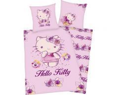 Hello Kitty Kinderbettwäsche Kitty, mit niedlichem Motiv lila Bettwäsche 135x200 cm nach Größe Bettwäsche, Bettlaken und Betttücher
