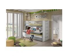 Vipack Hochbett Bonn, mit Schreibtisch und 3 Schlafgelegenheiten grau Betten Möbel Aufbauservice