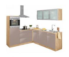 wiho Küchen Winkelküche Aachen mit E-Geräten Stellbreite 210 x 220 cm, grau, trüffelfarben Glanz