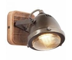 Brilliant Leuchten Carmen Wood Wandspot burned steel/holz grau Wandleuchten Lampen