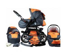 "bergsteiger Kombi-Kinderwagen ""Milano orange & grey 3in1"" (10-tlg), grau, Unisex, orange-grau"