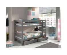 Vipack Etagenbett Pino, mit Rollroste und Schubkästen grau Kinder Kinderbetten Kindermöbel