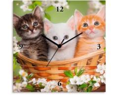 Artland Wanduhr Katzen sitzen in einem Korb grün Wanduhren Uhren Wohnaccessoires
