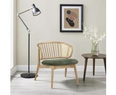 andas Armlehnstuhl Orwik, mit Rattan-Einsätzen in der Rückenlehne, Design by Morten Georgsen, Lounge chair grün Holzstühle Stühle Sitzbänke