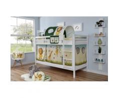 Ticaa Etagenbett Rene, mit Rollrost und Textil-Set wahlweise Matratze, Buche weiß Kinder Kinderbetten Kindermöbel