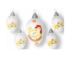 Krebs Glas Lauscha Osterei Henne mit Eiern und Küken (Set 5 Stück), bunt, weiß-gelb-rot-braun-grün-orange