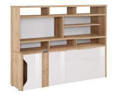 Maja Möbel Computerschrank eDJUST MINIOFFICE 5509, braun, Riviera Eiche - Lack weiß Spiegelglanz