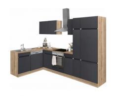 OPTIFIT Winkelküche Roth EEK B grau L-Küchen Küchenzeilen -blöcke Küchenmöbel Arbeitsmöbel-Sets