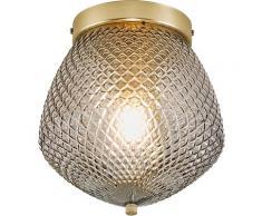 Nordlux Deckenleuchte ORBIFORM, E27, Struktur Glas Schirm, Messing Applikation grau Deckenleuchten SOFORT LIEFERBARE Lampen Leuchten