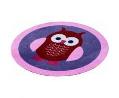 Kinderteppich Eulen Zala Living rechteckig Höhe 7 mm maschinell getuftet, lila, Neutral, lila-rosa-rot