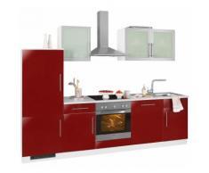wiho Küchen Küchenzeile Aachen mit E-Geräten Breite 280 cm, rot, rot Glanz