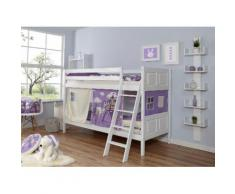 Ticaa Etagenbett Erni, mit Rollrost und Textil-Set wahlweise Matratze, Buche weiß Kinder Kinderbetten Kindermöbel