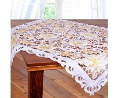 Delindo Lifestyle Mitteldecke ILEX, Glattes Gewebe, bestickt weiß Mitteldecken Tischwäsche Tischdecken