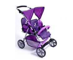 "CHIC2000 Puppen-Zwillingsbuggy ""Tandem Pflaume"", lila, Kinder, lila"